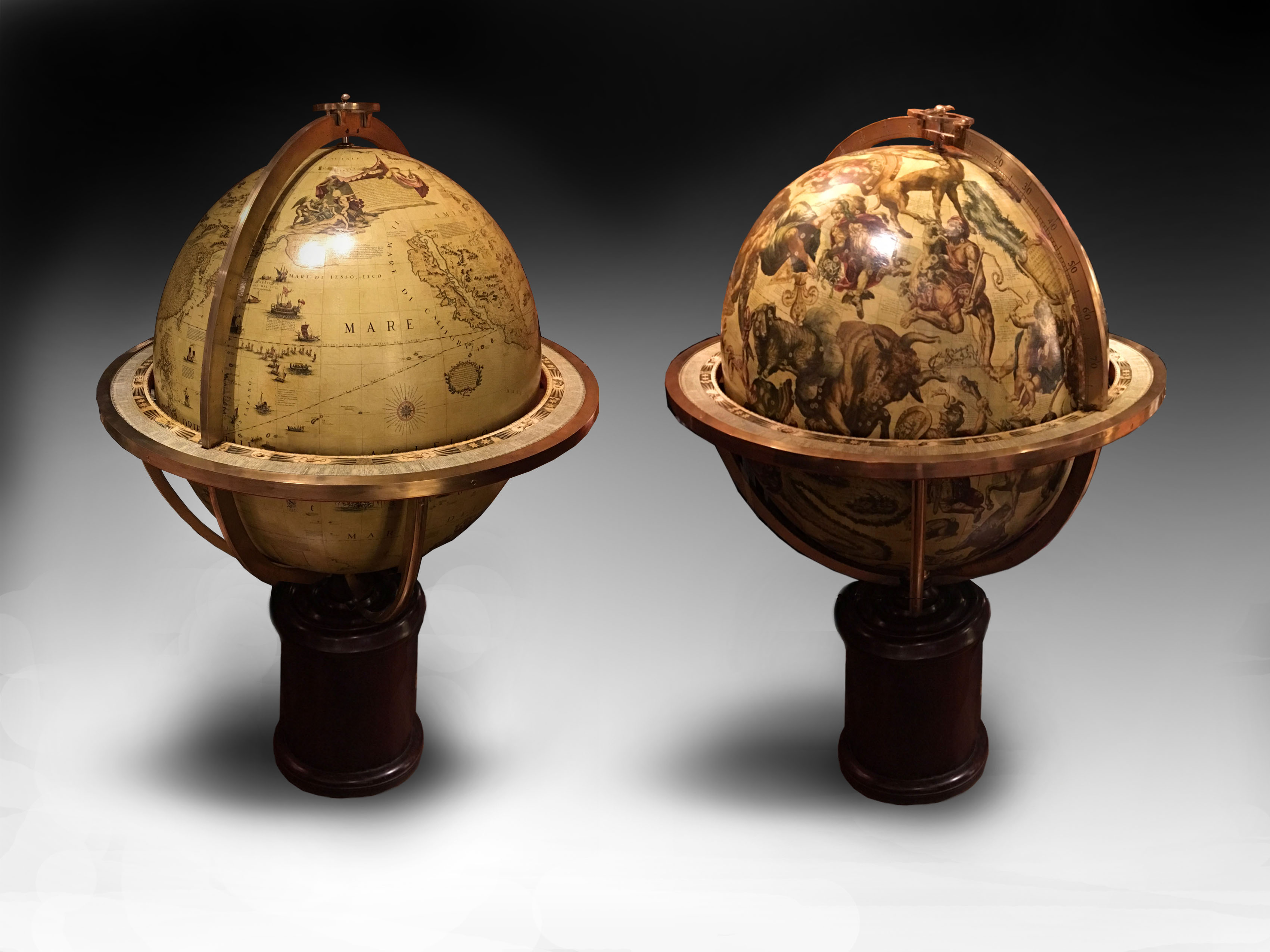 coronelli globes with pedestal bases made for Assouline