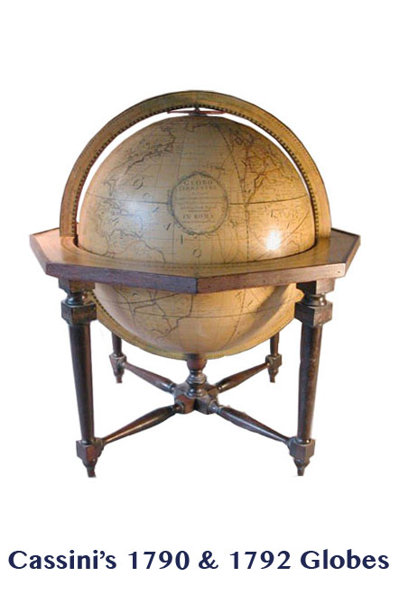 cassini's globe 1790  - greaves and thomas make a diverse range of terrestrial globes, globes of the world, world globe, world globes, celestial globes, planetry globes, lunar globes, customised globes, customised world globes, customised globes of the world, paper globes, replica globes,