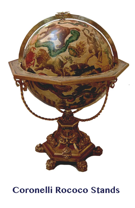 coronelli's on rococo style stands  - greaves and thomas make a diverse range of terrestrial globes, globes of the world, world globe, world globes, celestial globes, planetry globes, lunar globes, customised globes, customised world globes, customised globes of the world, paper globes, replica globes,